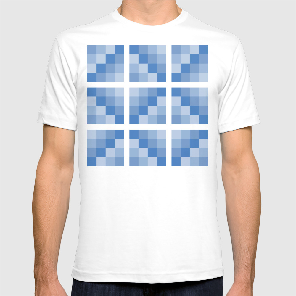 Four Shades Of Blue Square T-shirt by Shelleyylstart TSR8715379