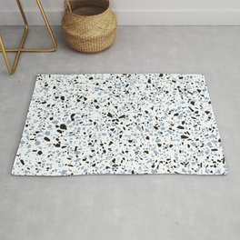 'Speckle Party' Blue Black and White Speckle Terrazzo Pattern Rug