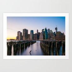 Sunset over Manhattan Art Print