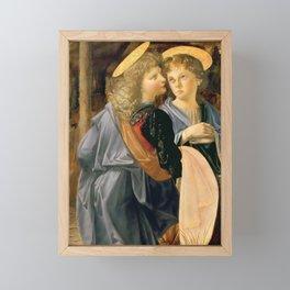 """Andrea del Verrocchio and Leonardo da Vinci """"Baptism of Christ"""" - angels Framed Mini Art Print"""