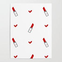 cute hand drawn red lipsticks Poster