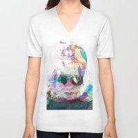 women V-neck T-shirts featuring Women by Oana Popan