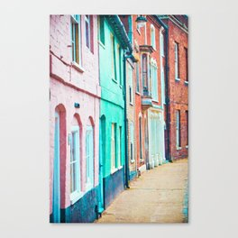 A row of colourful town houses in England Canvas Print