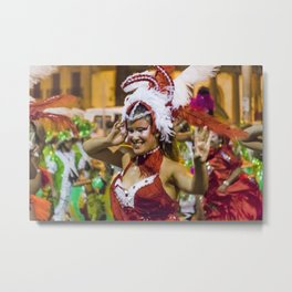 Costumed Attractive Young Woman Dancer at Carnival Parade of Uruguay Metal Print