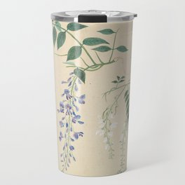 Japanese Botanical Ink and Brush Painting, Hand Drawing Flowers and Calligraphy Travel Mug