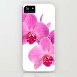 Pink orchid, closeup shot, white background iPhone Case