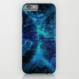 Antique World Star Map in Space Navy Blue iPhone Case