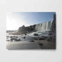 Iceland Golden Circle Stop - Waterfall Metal Print