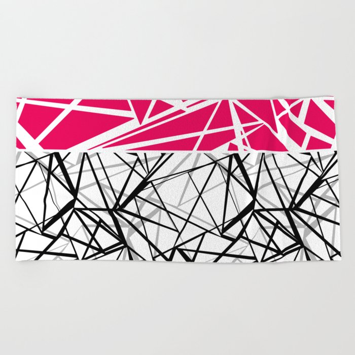 Black and white abstract geometric pattern with red inlay . Beach Towel