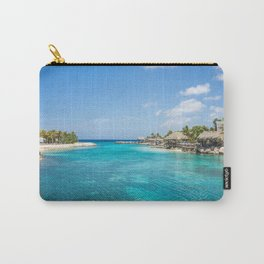 Blue water lake with huts and palm trees around Carry-All Pouch