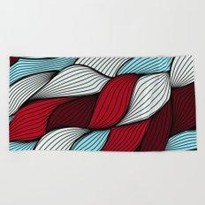 Red blue knit Beach Towel