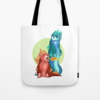 ferret Tote Bags featuring Ferret Dragons by AlliePets