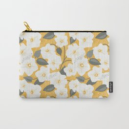 Gentle white field bindweed on a gold background Carry-All Pouch