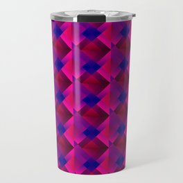 Volumetric pattern of squares with pink mosaic diamond-shaped highlights and a checkerboard. Travel Mug