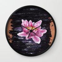 lotus Wall Clocks featuring Lotus by KeithKarloff
