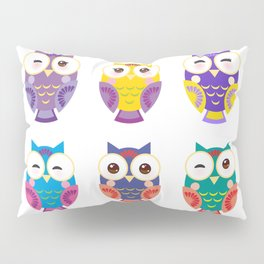 bright colorful owls on white background Pillow Sham