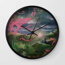 Pink Birds with Mythic Landscape Wall Clock