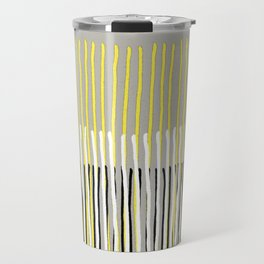 Yellow Rising - abstract stripes in yellow, grey, black & white Travel Mug