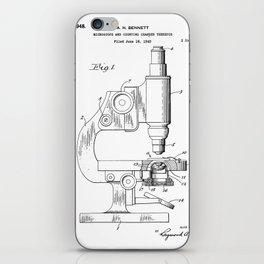 Microscope Patent - Scientist Art - Black And White iPhone Skin