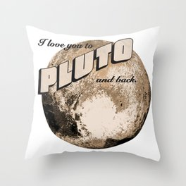 50s Postcard - love you to pluto and back Throw Pillow