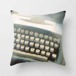 Blue Typewriter TTV Throw Pillow