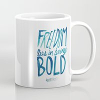 freedom Mugs featuring Freedom  by Leah Flores
