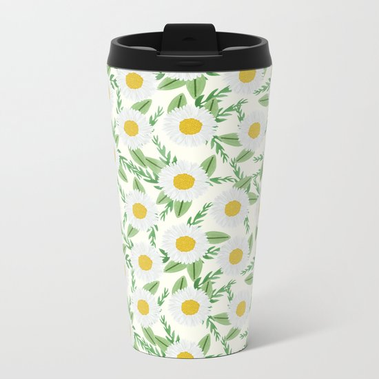 Daisies botanical floral print minimal flowers basic florals pattern charlotte winter Metal Travel Mug