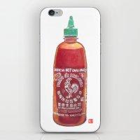 sriracha iPhone & iPod Skins featuring Sriracha Hot Sauce by Connie Luebbert