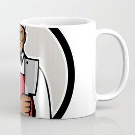 African American Butcher Circle Mascot Coffee Mug
