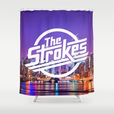 the strokes logo new york night shower curtain