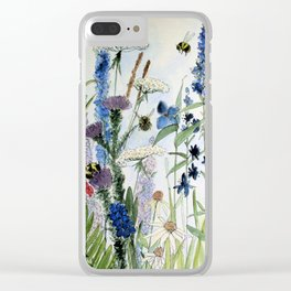 Wildflower in Garden Watercolor Flower Illustration Painting Clear iPhone Case