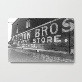 Braselton Bros. Inc. Sign in BW Metal Print