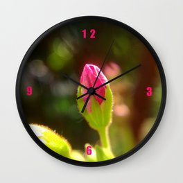 Pink Geranium Flower Bud Wall Clock