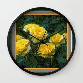 BLOOMING YELLOW SUMMER ROSE GARDEN Wall Clock