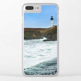 Receding waves at Yaquina Head Lighthouse in Newport, Oregon Clear iPhone Case