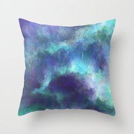 Abstract Painting - Space Nebula Storm Clouds Aurora Borealis Throw Pillow