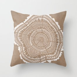 Tree Rings – White Ink on Kraft Throw Pillow