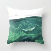 otters Throw Pillows featuring Swimming Otters by Pokemon-Chick-1