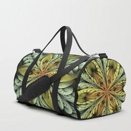 Golden flower with mint swirls Duffle Bag