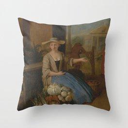 Pieter Angillis - The Vegetable Seller, Covent Garden (1725) Throw Pillow