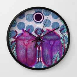 Two friendly bugs walking around Wall Clock
