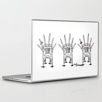 thrones Laptop & iPad Skins featuring The Plastic Thrones by Helena McGill