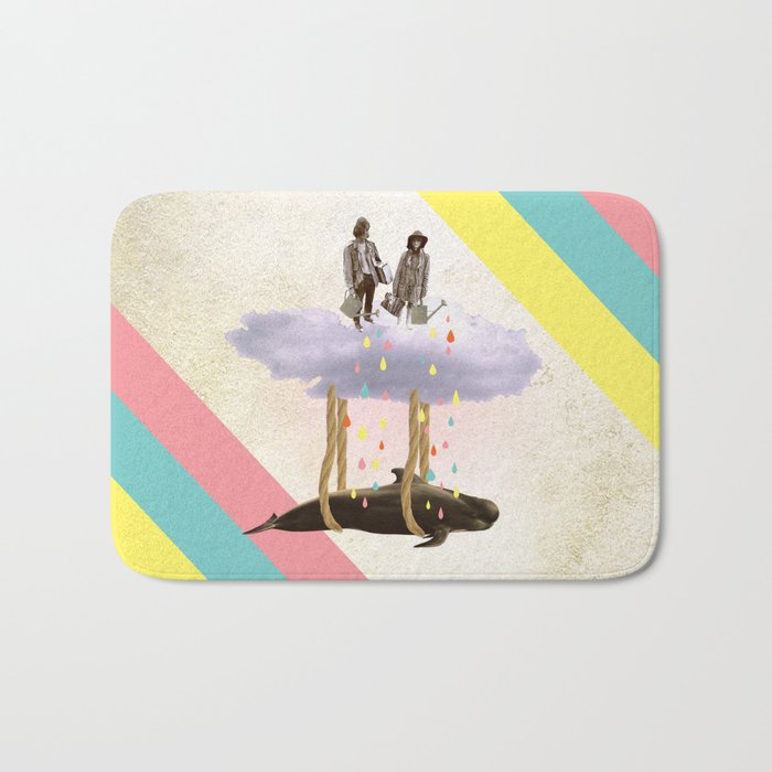 couple who travels on a cloud with a whale  Bath Mat