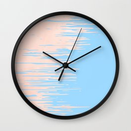 Carefree - Sweet Peach Coral Pink on Blue Raspberry Wall Clock