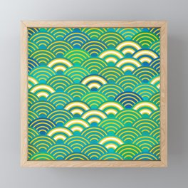 abstract scales simple Spring Nature background with japanese circle Framed Mini Art Print