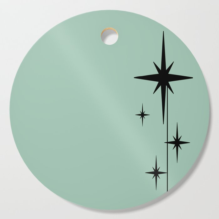 1950s Atomic Age Retro Starburst in Mint Green and Black 2 Cutting Board