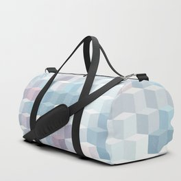 Distressed Cube Pattern - Pink and blue Duffle Bag