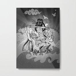 Samurai Woman Black & White Metal Print