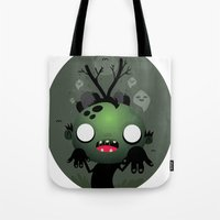 zombie Tote Bags featuring Zombie by Maria Jose Da Luz