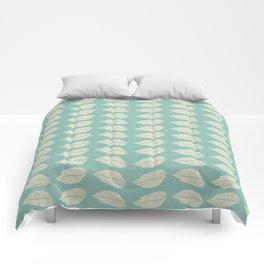 Beige leaves on Turquoise Comforters